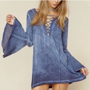 Blue Life/Planet Blue Bell Sleeve Lace Up Dress